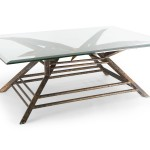 custom copper table for coffee with glass top