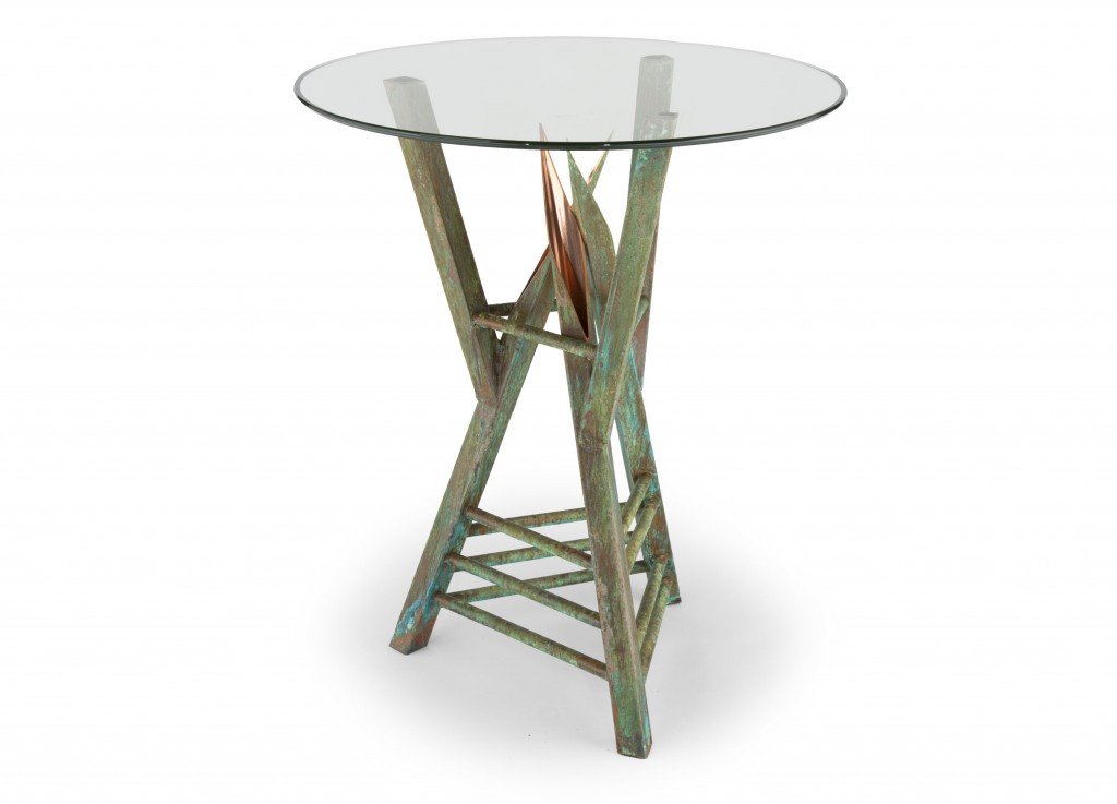 custom copper end table - mantua