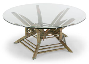 round coffee table custom copper base