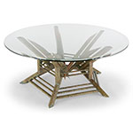 ravenna custom coffee table in copper - glass top