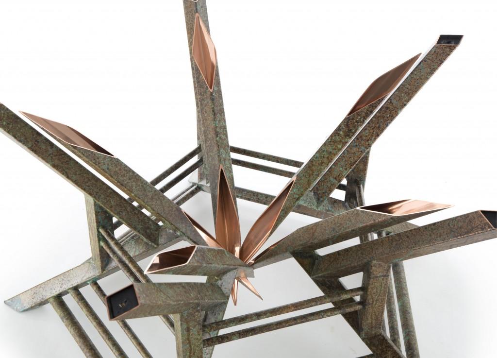 custom copper Ravenna coffee table detail view